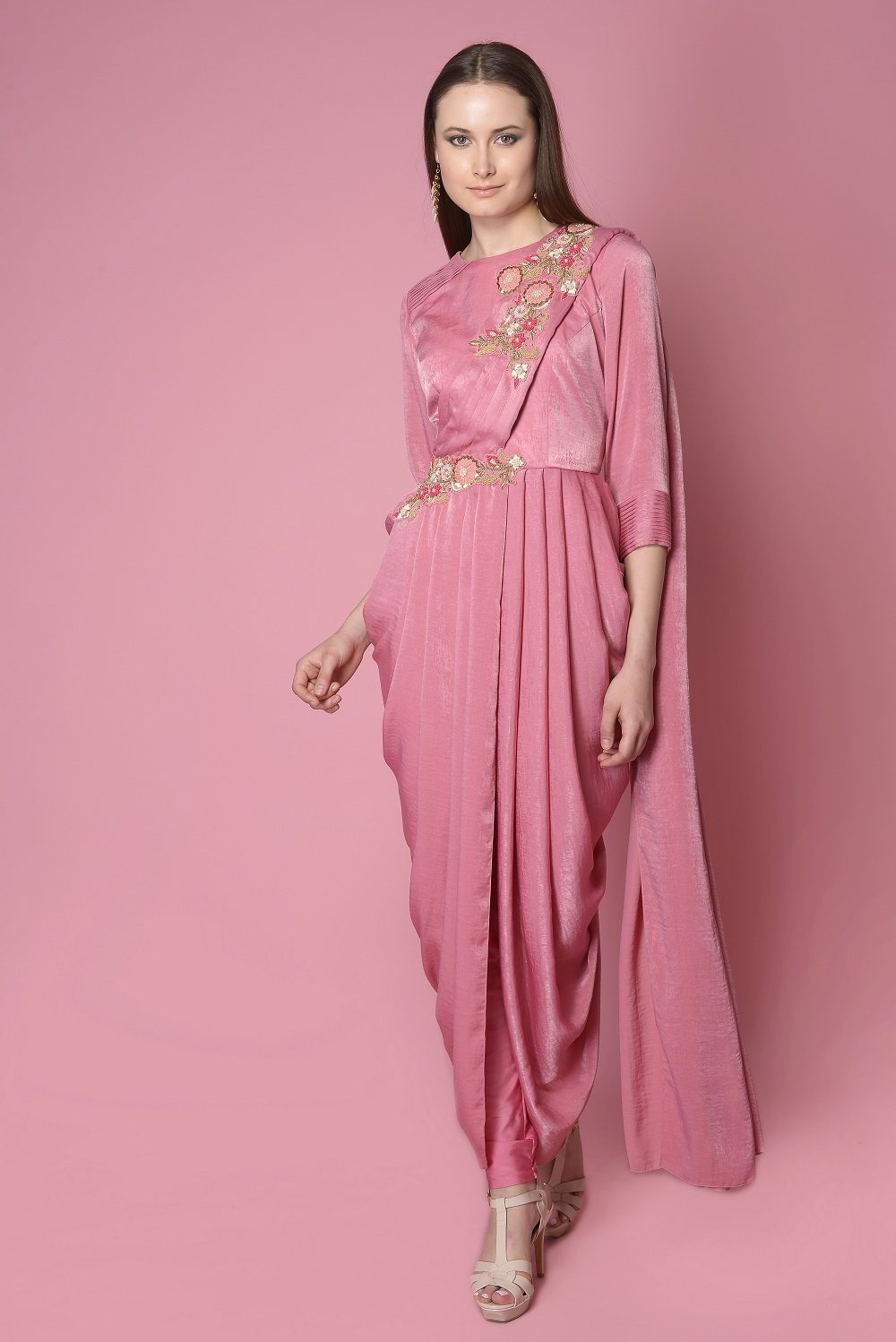 6bc57eae18 PINK COWL DRAPE WITH EMBROIDERY ON SHOULDER AND WAIST – Surabhi Arya