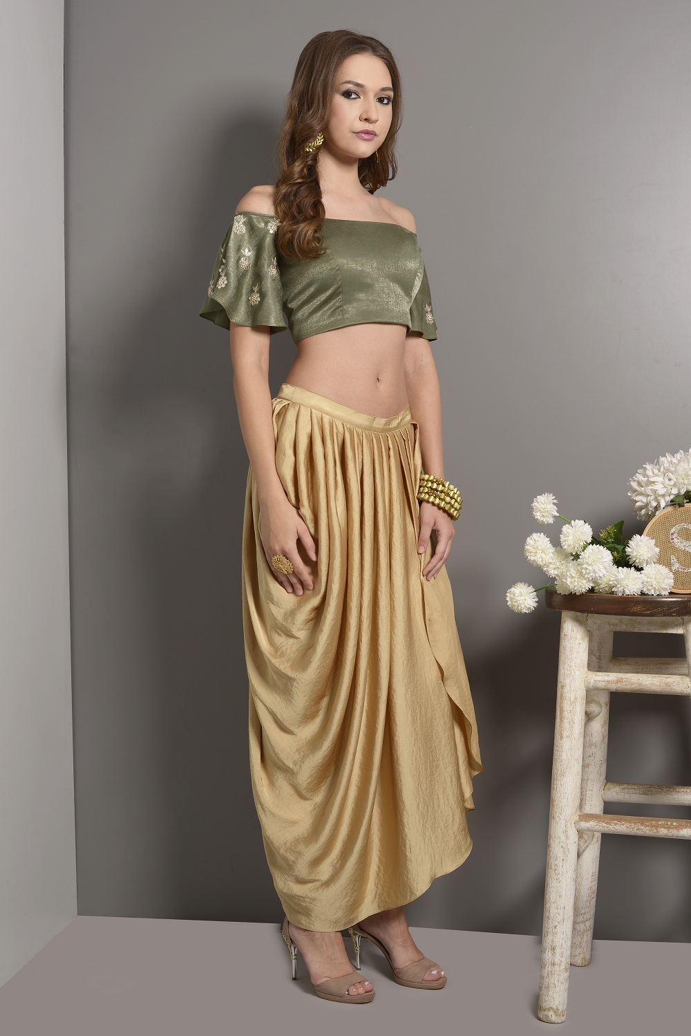 4159a868f8 Green Off Shoulder Crop Top With Flared Sleeves With Pleated Dhoti Pants