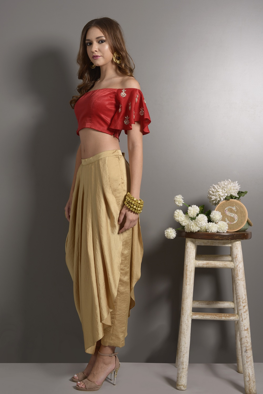 9efcba025f Red Off Shoulder Crop Top With Flared Sleeves With Pleated Dhoti Pants