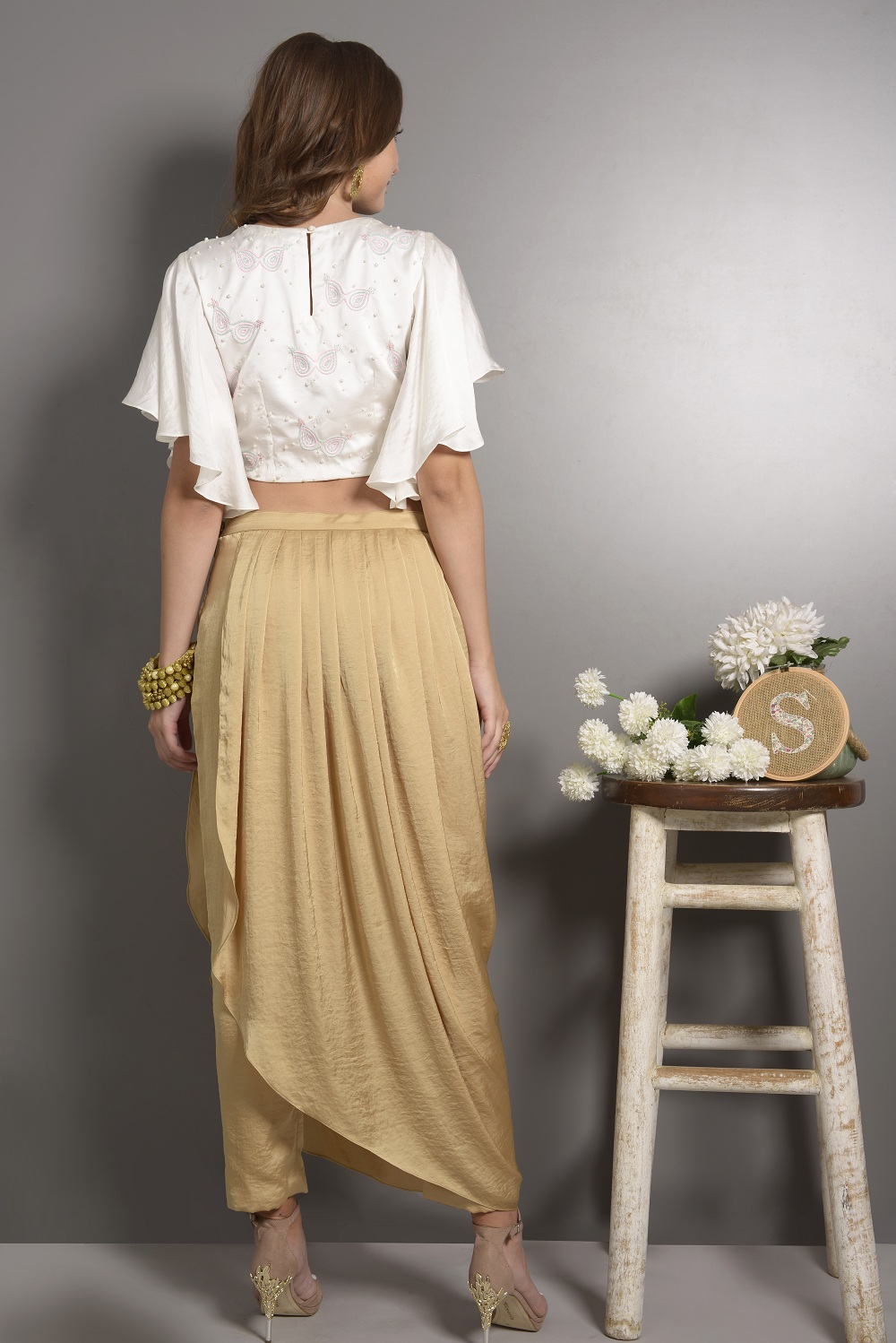 c6292a76c5 White Hand Embroided Crop Top With Flared Sleeves with Dhoti Pants ...