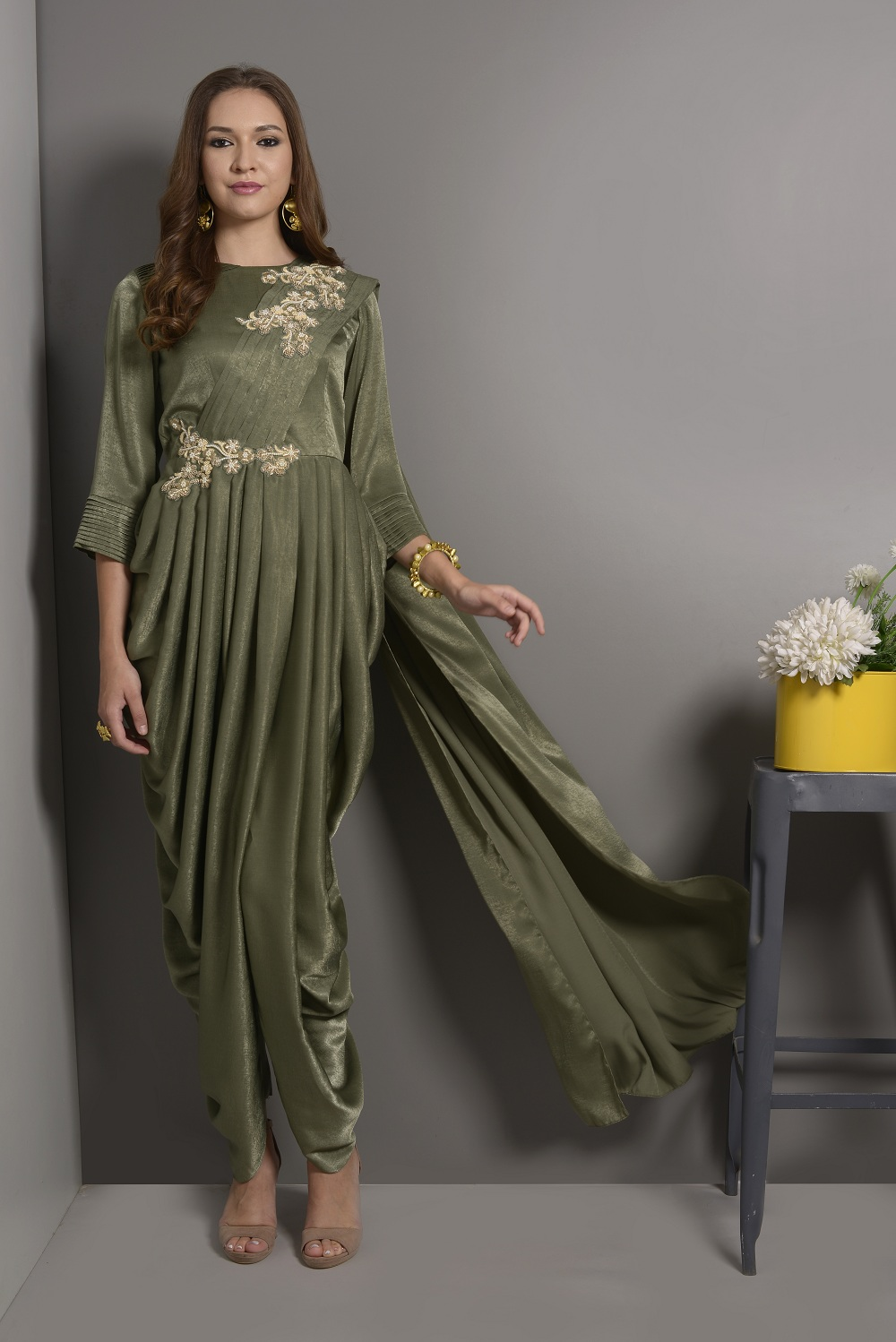 f8d7a53622 SAP GREEN COWL DRAPE WITH EMBROIDERY ON SHOULDER AND WAIST – Surabhi ...