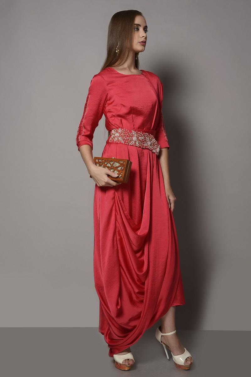 Red Saree Drape With Pearl Embroided Assymetric Belt Surabhi Arya